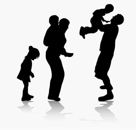 family together: Famiglia felice insieme Vettoriali
