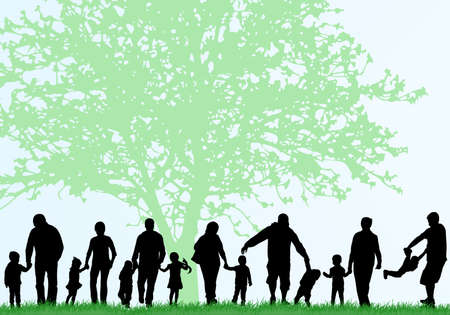 Family silhouettes Vector
