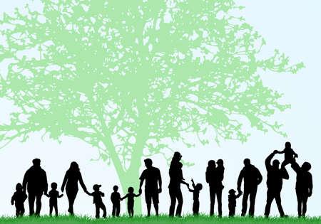 ni�os caminando: Siluetas de familias grandes