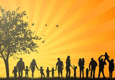 grandparents: Big family silhouettes
