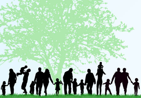 sons and grandsons: Family silhouettes Illustration