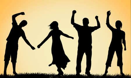 gens heureux: Les gens heureux silhouettes Illustration