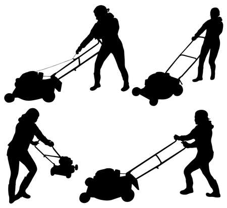 mowing the grass:  Woman with Lawn Mower Illustration