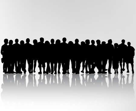 crowd of people: crowd silhouettes Illustration
