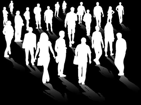 mature adult: crowd silhouettes Illustration