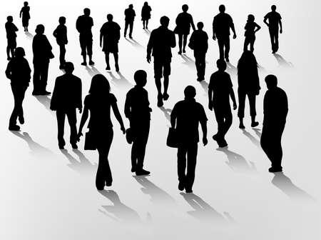 mature people: crowd silhouettes Illustration
