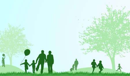 Family outdoors summer Vector