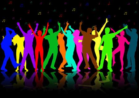 사람들이 실루엣 댄스