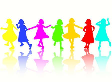 niños danzando: Baile de siluetas de las niñas  Vectores