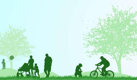 Familie buitenshuis zomer Stock Illustratie
