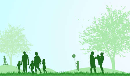 happy people: happy people outdoors Illustration