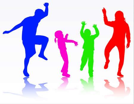 Dansen familie silhouetten Stock Illustratie