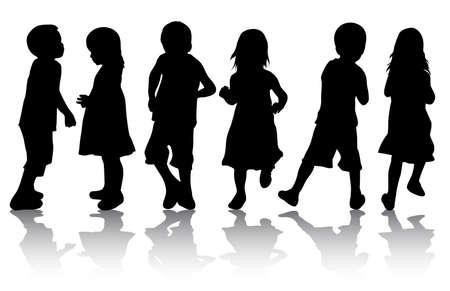 niños danzando: Niños siluetas