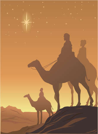 vector drawing of three wisemen on the desert with star shining Stock Illustratie