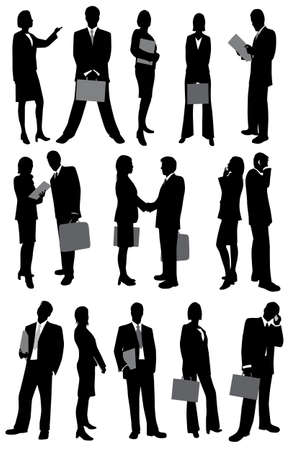woman business suit: Businesswoman and businessman silhouettes
