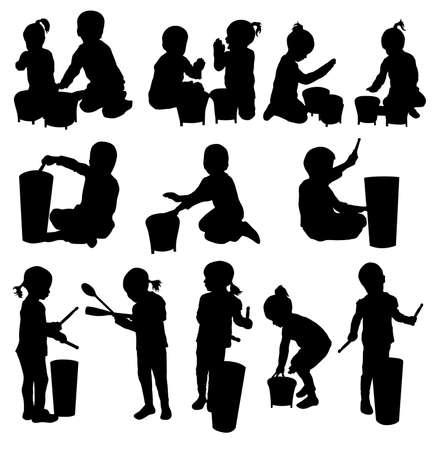 bongos: Children silhouettes