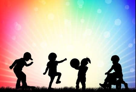 Playing children Vector