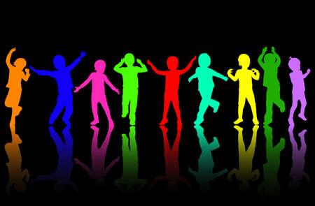 slhouette: happy dancing children