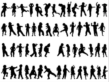 dancing people: children silhouettes Illustration