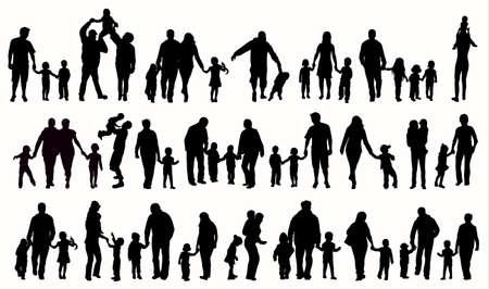 Family silhouettes Stock Illustratie