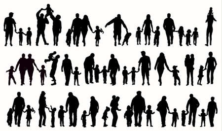Family silhouettes 向量圖像