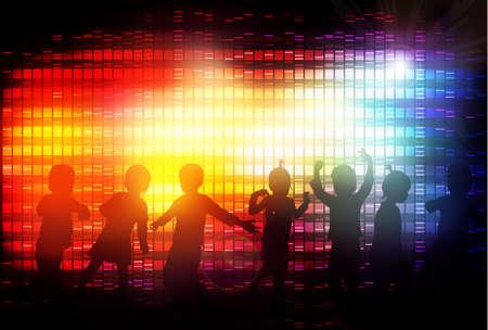 disco party: Dancing children Illustration