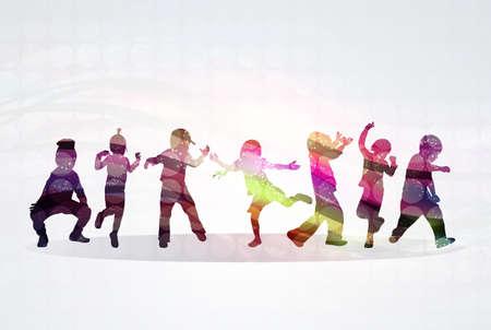 gente bailando: Niños siluetas