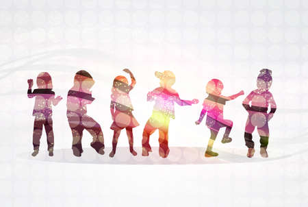 disco dancing: Children silhouettes