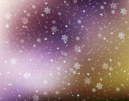 neige qui tombe: Les flocons de neige fond Illustration