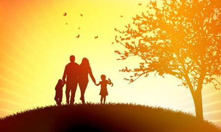 Familie bij zonsondergang Stock Illustratie