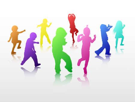 Danza sagome di bambini Archivio Fotografico - 35103734