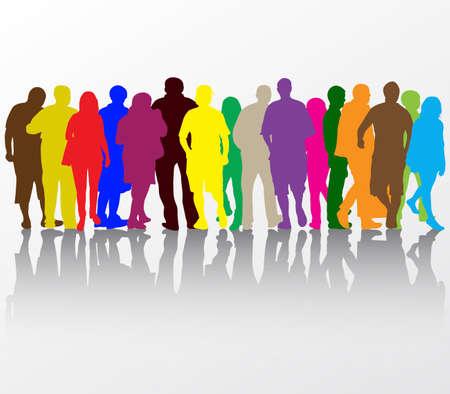 Menschen zu Fuß Silhouetten Standard-Bild - 35104475