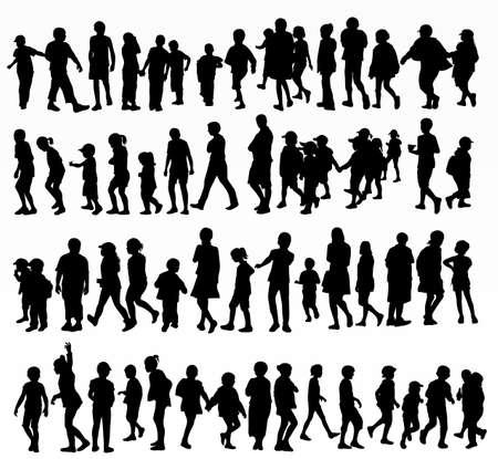 verzameling van kinderen silhouetten