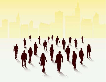 mature men: People silhouettes outdoors Illustration