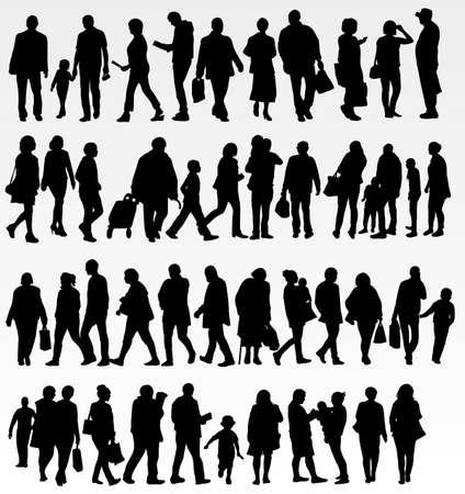 persona alegre: Las personas siluetas colección Vectores