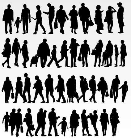 illustration people: People silhouettes collection