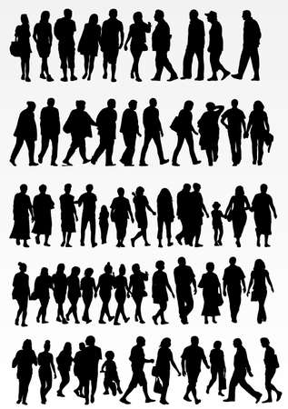mature adult: collection of people silhouettes