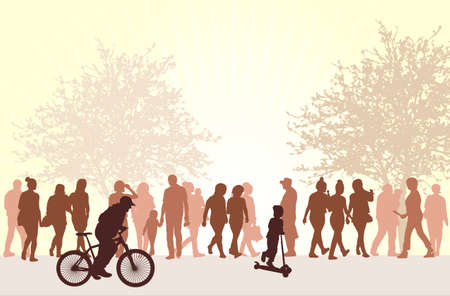 People silhouettes outdoors Ilustracja