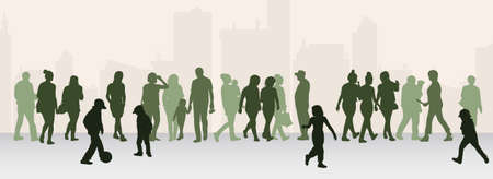 old couple walking: People silhouettes outdoors Illustration