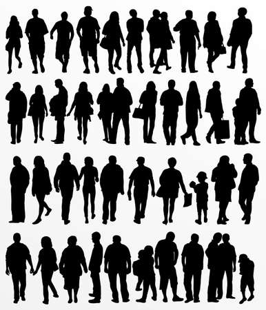 old couple walking: People silhouettes
