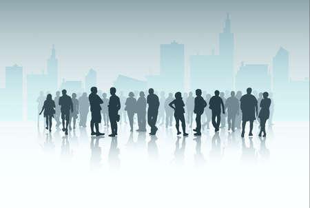 De silhouetten van mensen buiten
