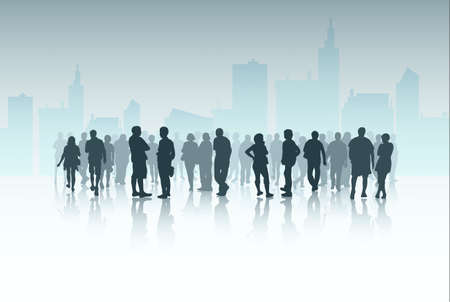 crowd of people: People silhouettes outdoors Illustration