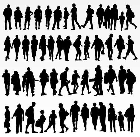 walking: collection of people silhouettes