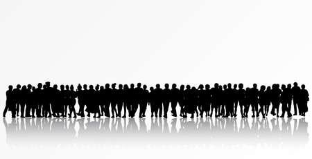 Siluetas de la gente las mujeres y los hombres del grupo Foto de archivo - 36150892