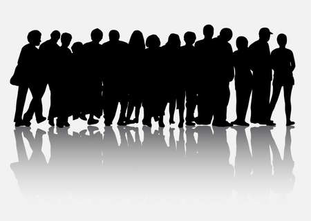 People silhouettes group women and men