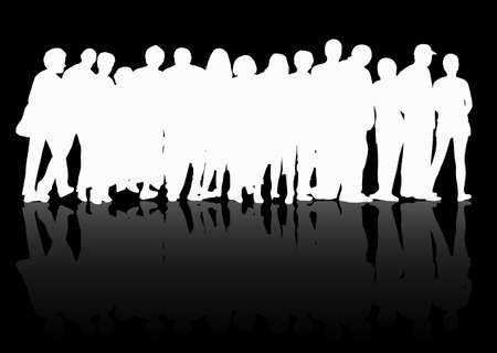 mature woman: People silhouettes group women and men