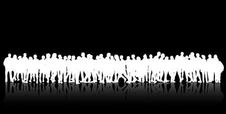 Mensen silhouetten groep vrouwen en mannen Stock Illustratie
