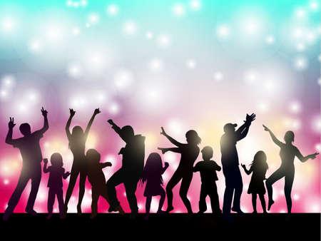 배경으로 여성과 남성 춤