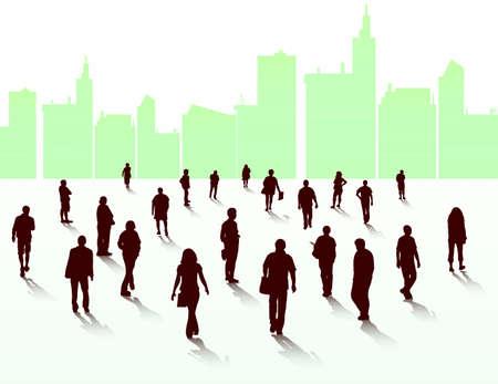 Mensen lopen silhouetten