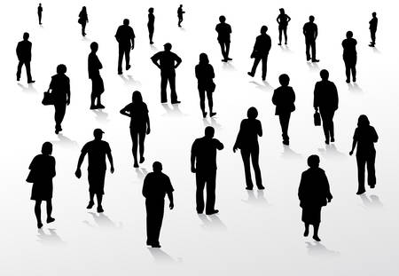 personnes qui marchent: Les gens silhouettes marchant